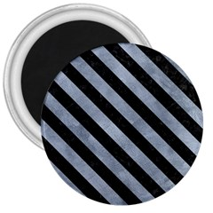 Stripes3 Black Marble & Silver Paint 3  Magnets by trendistuff