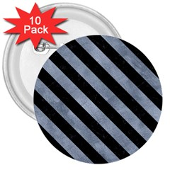 Stripes3 Black Marble & Silver Paint 3  Buttons (10 Pack)