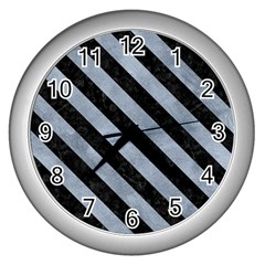 Stripes3 Black Marble & Silver Paint Wall Clocks (silver)  by trendistuff