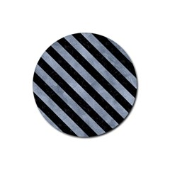 Stripes3 Black Marble & Silver Paint Rubber Coaster (round)  by trendistuff