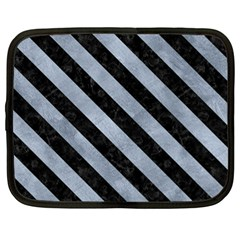 Stripes3 Black Marble & Silver Paint Netbook Case (xl)  by trendistuff
