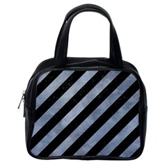 Stripes3 Black Marble & Silver Paint (r) Classic Handbags (one Side) by trendistuff