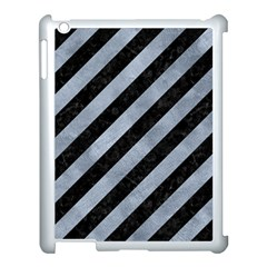 Stripes3 Black Marble & Silver Paint (r) Apple Ipad 3/4 Case (white) by trendistuff
