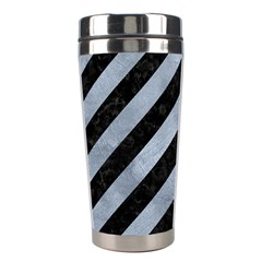 Stripes3 Black Marble & Silver Paint (r) Stainless Steel Travel Tumblers by trendistuff