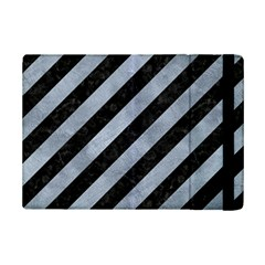 Stripes3 Black Marble & Silver Paint (r) Ipad Mini 2 Flip Cases