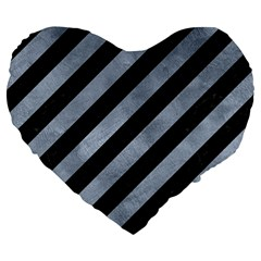 Stripes3 Black Marble & Silver Paint (r) Large 19  Premium Flano Heart Shape Cushions by trendistuff