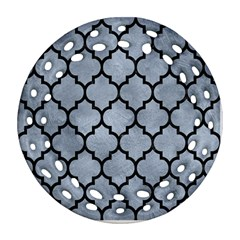 Tile1 Black Marble & Silver Paint Round Filigree Ornament (two Sides) by trendistuff