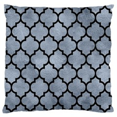 Tile1 Black Marble & Silver Paint Large Flano Cushion Case (one Side) by trendistuff