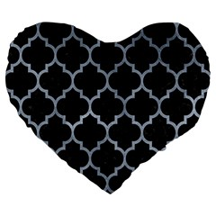 Tile1 Black Marble & Silver Paint (r) Large 19  Premium Flano Heart Shape Cushions by trendistuff