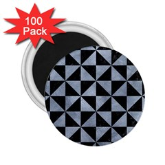 Triangle1 Black Marble & Silver Paint 2 25  Magnets (100 Pack)  by trendistuff