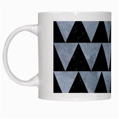 Triangle2 Black Marble & Silver Paint White Mugs by trendistuff