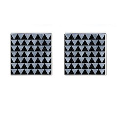 Triangle2 Black Marble & Silver Paint Cufflinks (square) by trendistuff