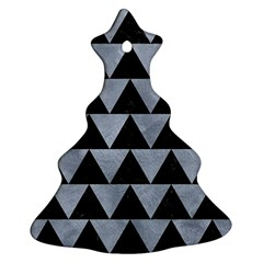 Triangle2 Black Marble & Silver Paint Christmas Tree Ornament (two Sides) by trendistuff