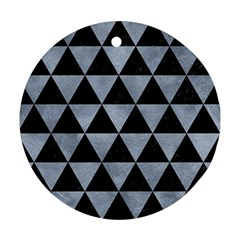Triangle3 Black Marble & Silver Paint Ornament (round) by trendistuff