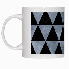 Triangle3 Black Marble & Silver Paint White Mugs by trendistuff