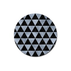 Triangle3 Black Marble & Silver Paint Magnet 3  (round) by trendistuff