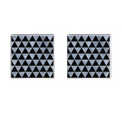 Triangle3 Black Marble & Silver Paint Cufflinks (square) by trendistuff
