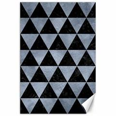 Triangle3 Black Marble & Silver Paint Canvas 20  X 30   by trendistuff