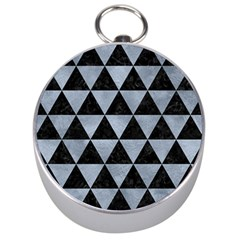 Triangle3 Black Marble & Silver Paint Silver Compasses by trendistuff