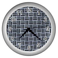 Woven1 Black Marble & Silver Paint Wall Clocks (silver)  by trendistuff