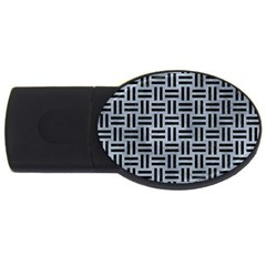 Woven1 Black Marble & Silver Paint Usb Flash Drive Oval (4 Gb) by trendistuff