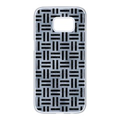 Woven1 Black Marble & Silver Paint Samsung Galaxy S7 Edge White Seamless Case by trendistuff