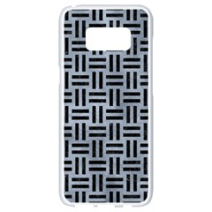 Woven1 Black Marble & Silver Paint Samsung Galaxy S8 White Seamless Case by trendistuff