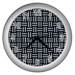 Woven1 Black Marble & Silver Paint (r) Wall Clocks (silver)  by trendistuff