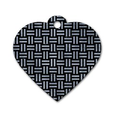 Woven1 Black Marble & Silver Paint (r) Dog Tag Heart (one Side) by trendistuff