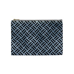 Woven2 Black Marble & Silver Paint Cosmetic Bag (medium)  by trendistuff