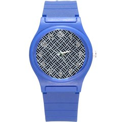 Woven2 Black Marble & Silver Paint Round Plastic Sport Watch (s) by trendistuff