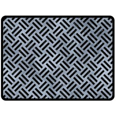 Woven2 Black Marble & Silver Paint Double Sided Fleece Blanket (large)  by trendistuff