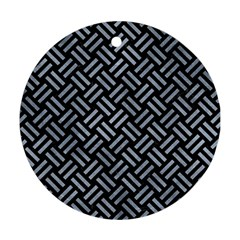 Woven2 Black Marble & Silver Paint (r) Round Ornament (two Sides) by trendistuff