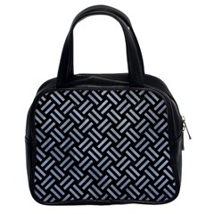 Woven2 Black Marble & Silver Paint (r) Classic Handbags (2 Sides) by trendistuff
