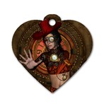 Steampunk, Wonderful Steampunk Lady Dog Tag Heart (One Side) Front