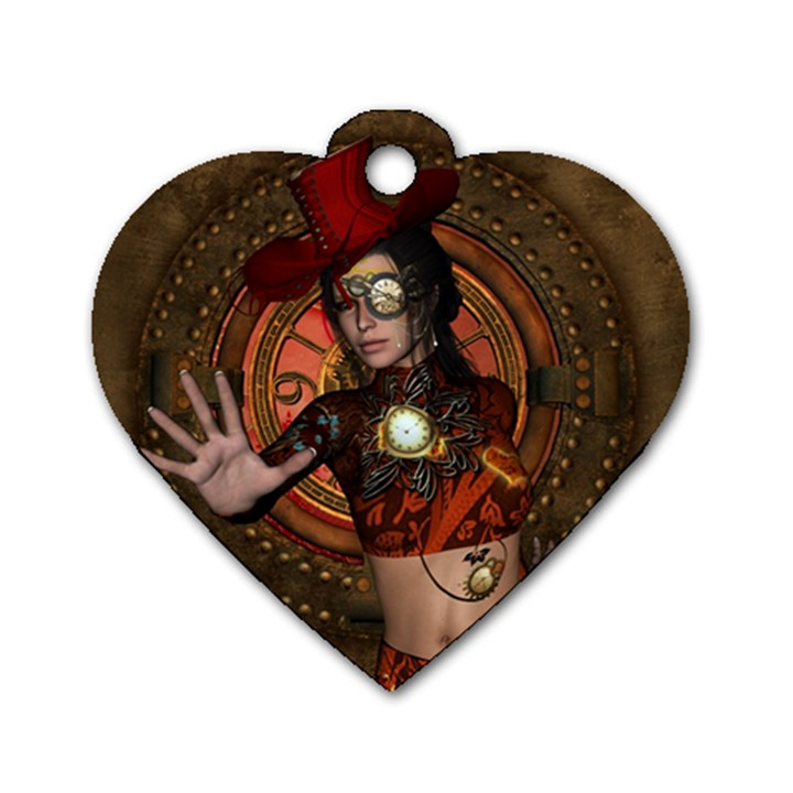 Steampunk, Wonderful Steampunk Lady Dog Tag Heart (One Side)