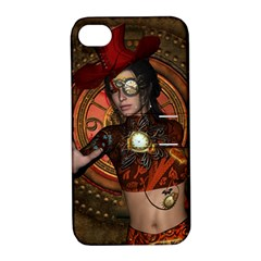Steampunk, Wonderful Steampunk Lady Apple Iphone 4/4s Hardshell Case With Stand by FantasyWorld7