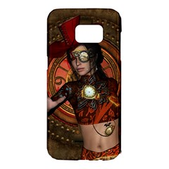 Steampunk, Wonderful Steampunk Lady Samsung Galaxy S7 Edge Hardshell Case by FantasyWorld7
