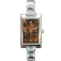 Brown, Bronze, Wicker, And Rattan Fractal Circles Rectangle Italian Charm Watch by jayaprime
