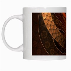 Brown, Bronze, Wicker, And Rattan Fractal Circles White Mugs by jayaprime