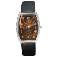 Brown, Bronze, Wicker, And Rattan Fractal Circles Barrel Style Metal Watch by jayaprime
