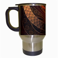 Brown, Bronze, Wicker, And Rattan Fractal Circles Travel Mugs (white) by jayaprime