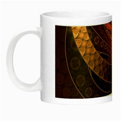 Brown, Bronze, Wicker, And Rattan Fractal Circles Night Luminous Mugs by jayaprime