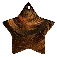 Brown, Bronze, Wicker, And Rattan Fractal Circles Star Ornament (two Sides) by jayaprime