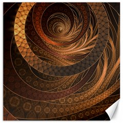 Brown, Bronze, Wicker, And Rattan Fractal Circles Canvas 12  X 12   by jayaprime