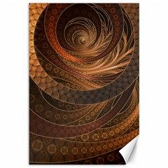 Brown, Bronze, Wicker, And Rattan Fractal Circles Canvas 12  X 18   by jayaprime