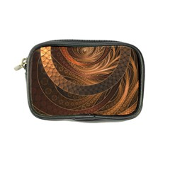 Brown, Bronze, Wicker, And Rattan Fractal Circles Coin Purse by jayaprime