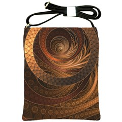 Brown, Bronze, Wicker, And Rattan Fractal Circles Shoulder Sling Bags by jayaprime
