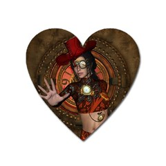 Steampunk, Wonderful Steampunk Lady Heart Magnet by FantasyWorld7