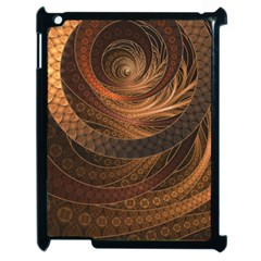Brown, Bronze, Wicker, And Rattan Fractal Circles Apple Ipad 2 Case (black) by jayaprime